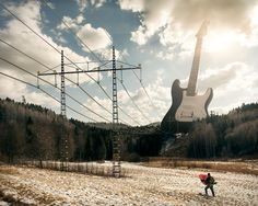 Electric guitar with high tension power line.