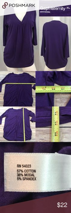 ⭐️Sz XL Gap Maternity V-neck Purple 3/4 Sleeve Top Measurements are in photos. Normal wash wear, no flaws. B2/34  I do not comment to my buyers after purchases, due to their privacy. If you would like any reassurance after your purchase that I did receive your order, please feel free to comment on the listing and I will promptly respond.   I ship everyday and I always package safely. Thank you for shopping my closet! GAP Tops