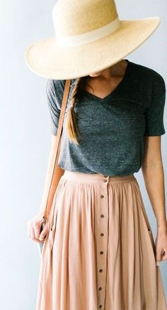 summer outfits Light Hat + Grey Tee + Blush Maxi Skirt
