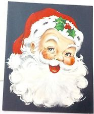 UNUSED Santa Claus Feathered Beard Vintage Mid-Century Christmas Card B110