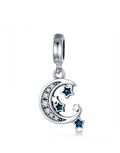 a6e189f30 Crescent Moon and Star Dangle Charm #sterlingsilvercharms #silvercharms  #jewelrycharms #charmsforbracelet #charmsfornecklace #necklacecharm ...
