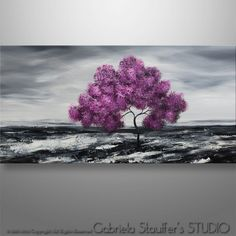 Abstract Painting, Tree Painting, Landscape, Pink Tree, Acrylic