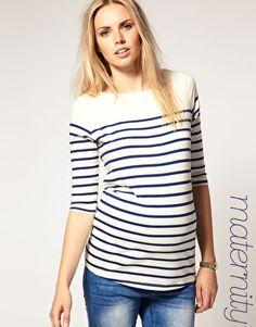 ASOS Maternity Longline Breton Stripe