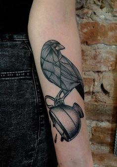 Image via We Heart It #crow #cup #ink #tattoo #inkart