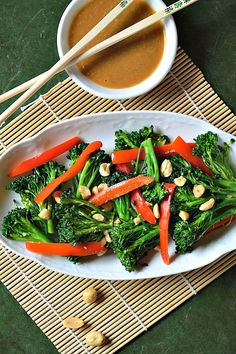 Spicy Stir Fried Broccoli and Peanut Sauce - Pure Grace Farms Vegetarian Recipes Easy, Clean Eating Recipes, New Recipes, Whole Food Recipes, Healthy Recipes, Vegetarian Food, Vegan Food, Healthy Eats, Non Processed Foods