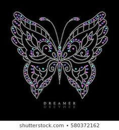 rhinestone graphic for t-shirt Sequin Crafts, Rhinestone Crafts, Dot Art Painting, Peacock Painting, Hand Embroidery Designs, Beaded Embroidery, Jar Art, Butterfly Crafts, Diamond Art