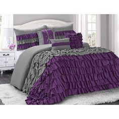 HIG 7 Piece Comforter Set Queen-Burgundy and Black Microfiber Several Ruffles-BRISE Bed In A Bag Queen Size-Soft, Hypoallergenic,Fade Decorative Bedskirt Ruffle Comforter, Grey Comforter Sets, Double Bed Sheets, Bed Sheet Sets, Purple Duvet, Purple And Grey Bedding, Purple Bed Sheets, Purple Pillows, Designer Bed Sheets