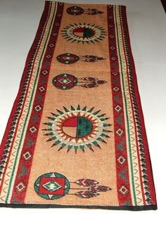 "A quality woven SUN FACE themed table runner. Measures 13x72"" & has an extra fabric backing for durability. $36.95 w/ free shipping. Placemats to match available in our ebay store. #placemats #sunface #nativeamerican #homedecor"