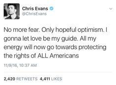 Chris, Steve... Spoken like the true Captain America