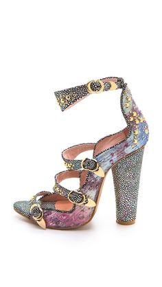 Cynthia Rowley Brocade Triple Strap Heels