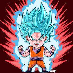 Chibi Goku Super Saiyan Blue Kaioken