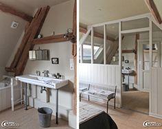 Dans la maison d'hôtes L'Épicerie du Pape, claustra en bois réalisé par Pascal Bonay, menuisier à Charleval et ancien miroir triptyque chez 'Bord de Scène'