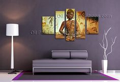 Huge Abstract Zen Feng Shui Religion Oil Painting Wall Art Buddha Hand Painted