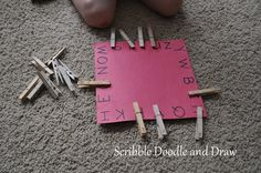 Scribble Doodle and Draw: Clothespin letter matching