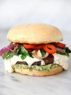Portobello Mushroom Burger with Avocado Chimichurri | foodiecrush.com
