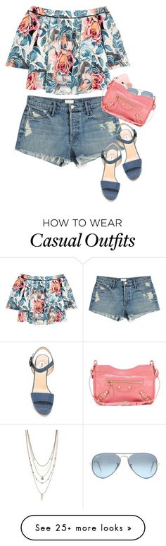 Casual Flowers by hollowpoint-smile on Polyvore featuring Elizabeth and James, Mother, Vince Camuto, Jimmy Choo, Herbivore Botanicals, Ray-Ban and Balenciaga