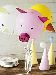 Mais usos para os nossos amigos infláveis: com papel-cartão colorido, viram bichinhos fofos. Os modelos menorzinhos enfeitam o chapéu de aniversário | Decor #recebercomcharme