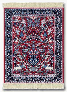Tree Of Life Miniature Rug Mouse Pad Red Group Persian Gift Accessories Museum Company