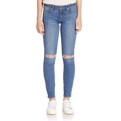 PAIGE Verdugo Distressed Skinny Jeans (308 CAD) ❤ liked on Polyvore featuring jeans, apparel & accessories, danya destructed, destroyed jeans, ripped jeans, ripped skinny jeans, destructed skinny jeans and white destroyed skinny jeans