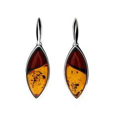 Silver Amber Leaf Earrings #Leaf #Earrings #Autumn #SterlingSilver #Amber #DropEarrings