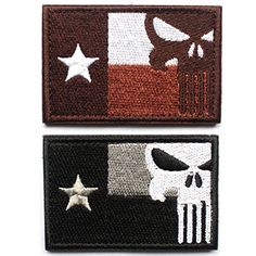 Texas Lonely #Star Flag / Punisher Skullpatch is 100% embroidered with velcro loop backing. The size is specifically designed for use with #tactical caps.