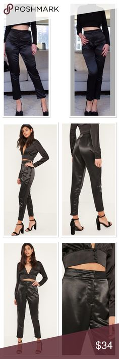 "Missguided Black Satin Cigarette Pants add a touch of luxe to your style this weekend in these beaut black cigarette trousers. in a slim fit style with shiny satin finish, this perfect pair will take you from daytime to playtime.   slim fit   mixed fibres   approx length 68cm/27"" (based on a uk size 8 sample) Missguided Pants Straight Leg"