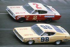 1969 ARCA race - Andy Hampton #2 battles Benny Parsons #98 (Joe Farkas Photo)