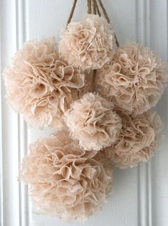 Wedding Decorations, Baptism Decorations, Baby Shower Decor, Set of 6 Hanging Pom Poms, Brown, Ivory and Champagne Lace Pom Poms via Etsy