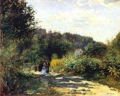 Пьер Огюст Ренуар -  A Road in Louveciennes  (c.1870) - Открыть в полный размер