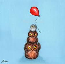 Three Owls with red Balloon