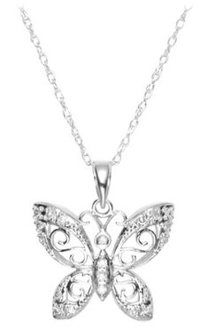 White Gold Butterfly Pendant with Diamond-Accent