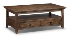 Style Staple. The plinth tabletop of the Karen coffee table adds heft and charm to this rustic look that will warm up any space. Drawers and open storage space beneath provide plenty of options for use, both practical and decorative, and the brushed walnut finish is the perfect balance between casual and elegant. Customer assembly is required. Unique Coffee Table, Coffee Table With Storage, Coffee Tables, Table Furniture, Living Room Furniture, Canada House, Living Room Redo, Cocktail Tables, Storage Spaces