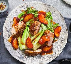 One-pan coriander-crusted duck, roasted plums Easy Dinners For One, One Pot Meals, Roast Chicken Veg, Tomato Mozzarella Salad, Vegan Crepes, Dinner For One, Crispy Pork, Midweek Meals, Roast Dinner