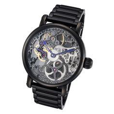 Rougois Black Mechanical Skeleton Watch Black Stainless Steel Band #mechanicalwatch #skeletonwatch