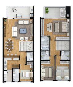 Planta tipo 1 - 3 suites + 1 dorm