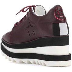 Elyse Star platform sneakers Stella McCartney ($645) ❤ liked on Polyvore featuring shoes, sneakers, stella mccartney, platform shoes, star sneakers, burgundy shoes and stella mccartney sneakers
