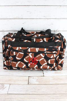 43f44862df Football Duffle Bag  Carry On Size  Monogrammed Duffle Bag  Monogrammed  Duffel Bag  Duffle Bag Travel  Women s Duffle Bag by PoseyProductions on  Etsy