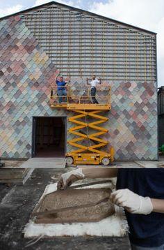 Exterior Tiles, Exterior Trim, Facade Design, Exterior Design, Sustainable Building Materials, Building A Container Home, Concrete Tiles, Garden Studio, Facade Architecture