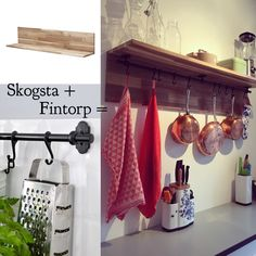 Ikea hack: Skogsta shelf and Fintorp hanging storage