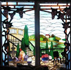 Tuscany scene stained glass by Sandy Burnett, Glass Moose studios - glassmoose.com