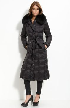 Burberry Brit Black Down Coat with Genuine Fox Fur Trim