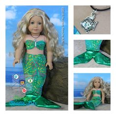 """American Made Mermaid Outfit for your 18"""" Girl Doll by NuclearNeedleArts on Etsy"""