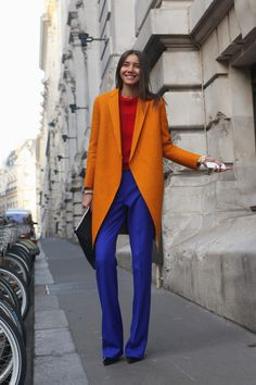 Bright colour blocking at its best! #StreetStyle #PFW WGSN Street Shot, Paris Fashion Week