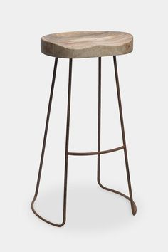 'Loko' industrial wood and iron bar stool: tall - Furniture - Decorator's Notebook Shabby Chic Table And Chairs, Garden Table And Chairs, Deck Chairs, Metal Chairs, Dining Table Chairs, Bar Chairs, High Chairs, Swing Chairs, Room Chairs