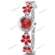 Fashion Elegant Cute Flower Band Bracelet Quartz Watch Lady (5.20 AUD) ❤ liked on Polyvore featuring jewelry, flower jewellery, quartz jewelry, blossom jewelry and flower jewelry