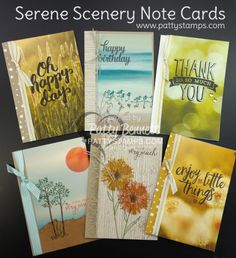 Serene Scenery Note Cards by Patty Bennett featuring Stampin' UP! paper stack and stamps.  Easy way to make a whole set of note cards - watch the video tutorial to see how to cut your 6x6 paper to maximize use with the Note Cards.