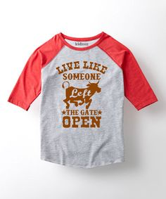 Love this Athletic Heather 'Left the Gate Open' Raglan Tee - Toddler & Kids on #zulily! #zulilyfinds
