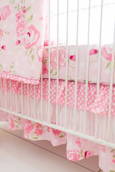 Features:  -100% Cotton.  -Bumper sold separtely.  -Set includes 1 crib skirt, 1 crib sheet and 1 crib blanket.  -Machine washable.  Color: -Pink/White.  Material: -100% Cotton.  Fill Material: -Polye