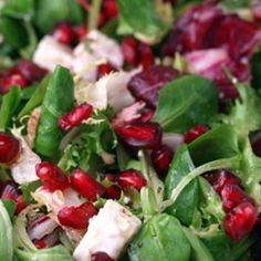 Mixed Baby Greens With Pomegranate Seeds, Gorgonzola And Pecans ...
