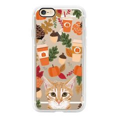 Tabby cat cutest little sweet cat lady transparent gift fall leaves... ($40) ❤ liked on Polyvore featuring accessories, tech accessories, iphone case, iphone cases, cat iphone case, apple iphone cases, iphone cover case and transparent iphone case